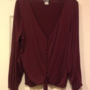 VENUS burgundy buttoned down blouse.